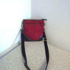 Coach Red Signature Leather Trim Bag.